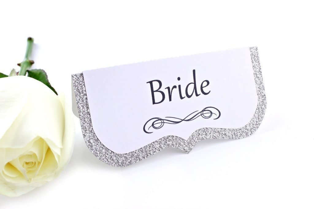 Argento Silver Glitter Place Cards
