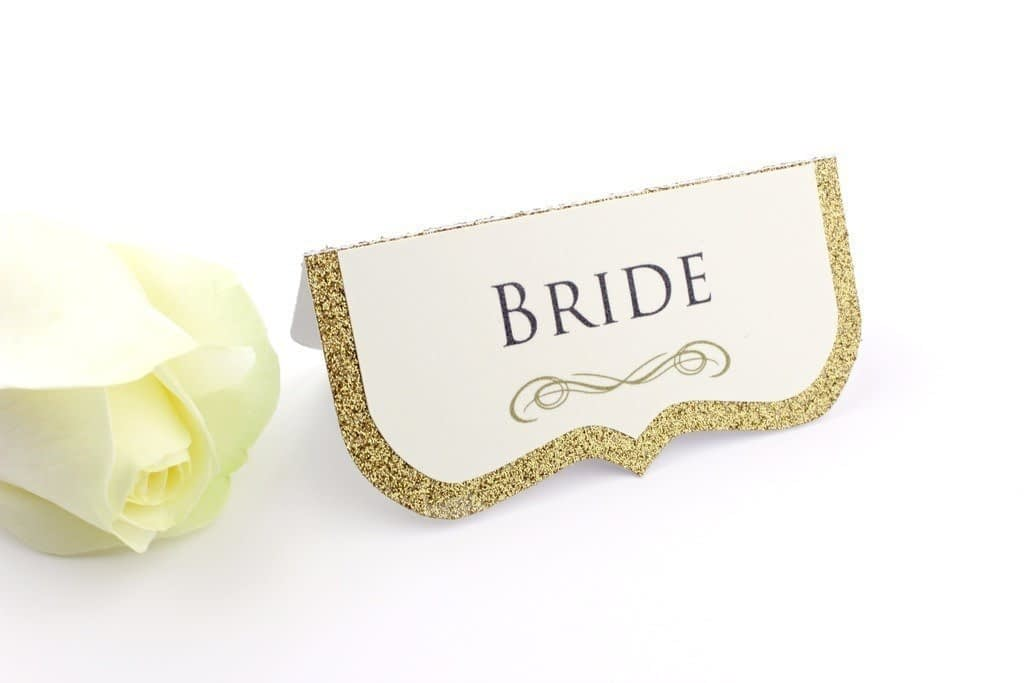 Luxe Gold Glitter Wedding Place Cards