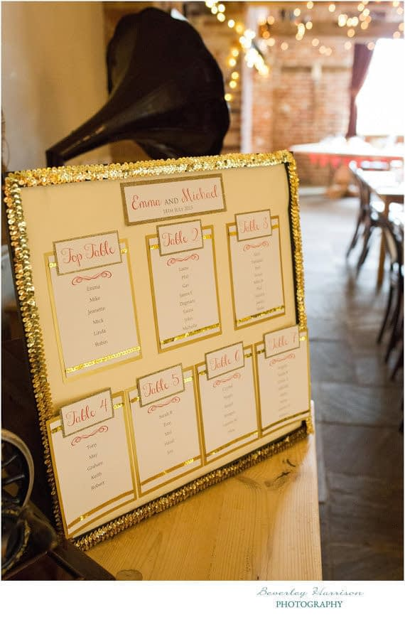 Luxe Gold Glitter Table Plan