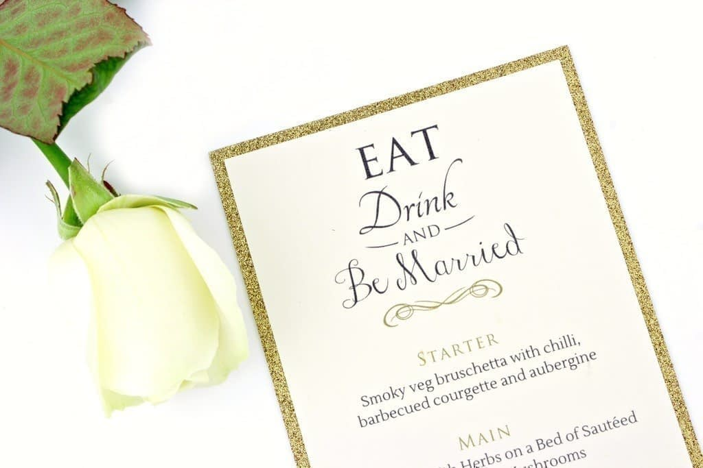 Luxe Gold Glitter Menu
