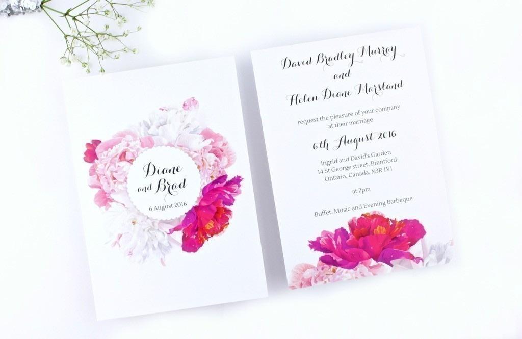Peony Floral Wedding Invitation