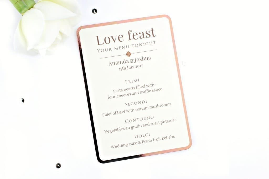 Shine Copper Wedding Menu