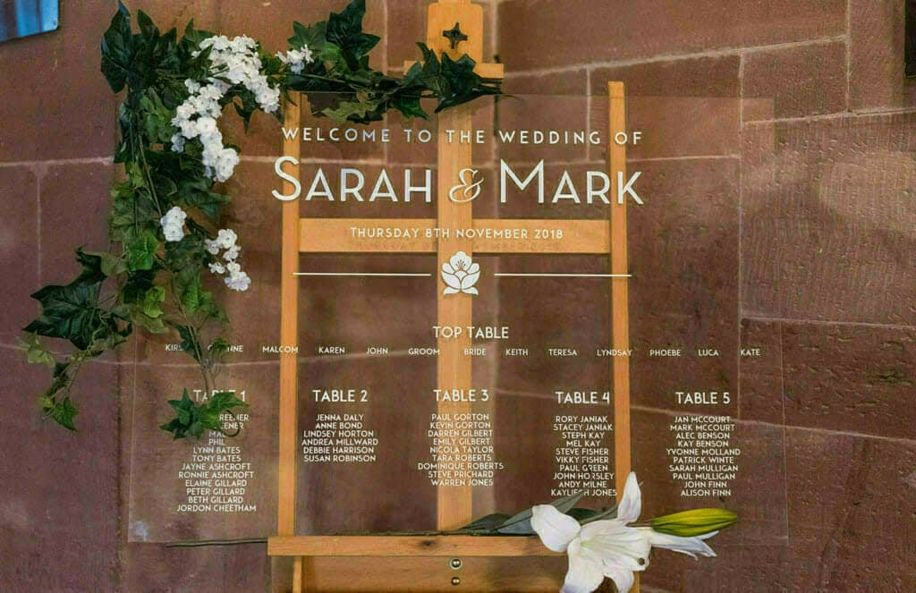 Acrylic wedding table plan seating chart