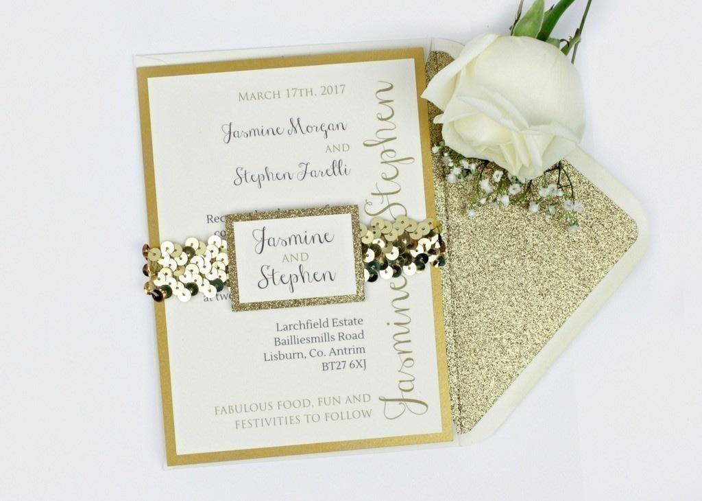 Luxe Gold Glitter Wedding Invitation